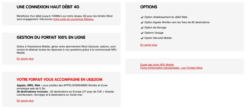 La liste de ce que contient le forfait NRJ Mobile 200 Go à 9,99 euros