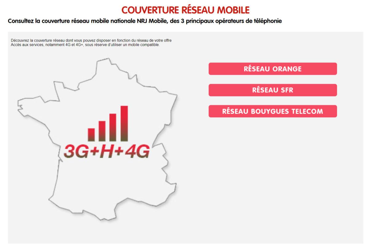 NRJ Mobile possède un outil qui permet de visualiser la couverture réseau des différents opérateurs.