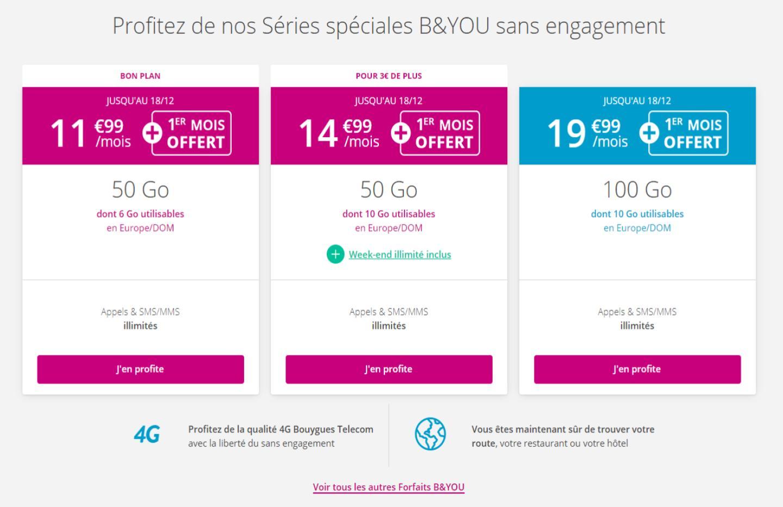 Forfait mobile : Bouygues renouvelle ses offres sans engagement avec 1 mois offert