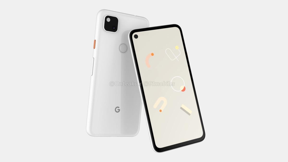 Rendu 3D du Google Pixel 4a par OnLeaks et 91Mobiles