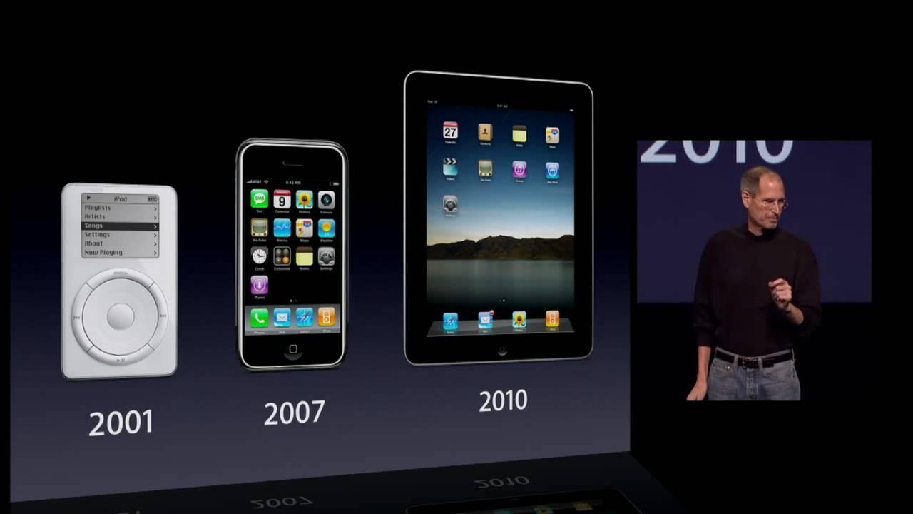 Steve Jobs présentant l'iPad (2010) après l'iPhone (2007) et l'iPod (2001).