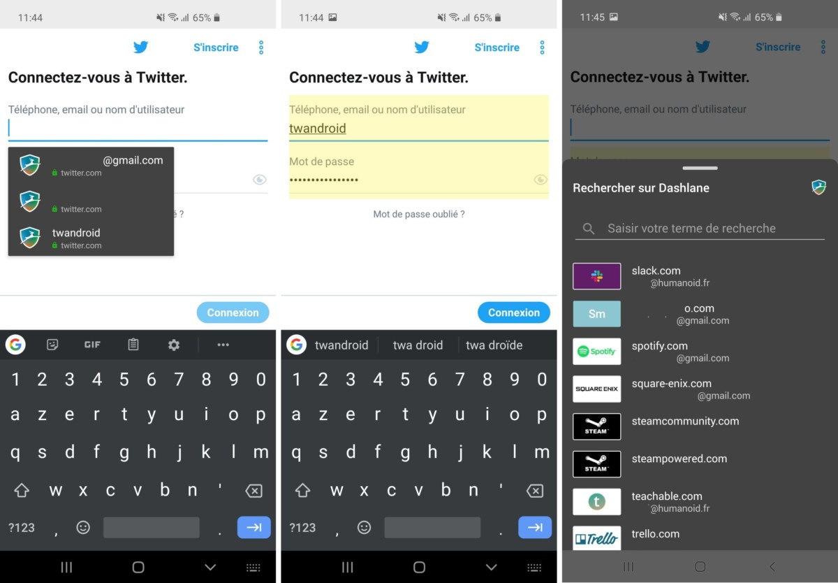 Une fois Dashlane installé, il suffit de se rendre sur l'écran de connexion de l'application sur laquelle on souhaite s'identifier. Dashlane propose alors automatiquement les comptes qu'il connaît (ici les comptes Twitter). Il est également possible d'ouvrir la liste des mots de passe de Dashlane directement sur l'application (image de droite).