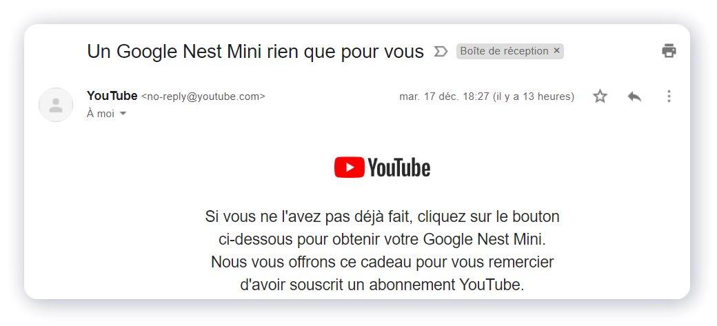 Le mail envoyé par Google aux abonnés