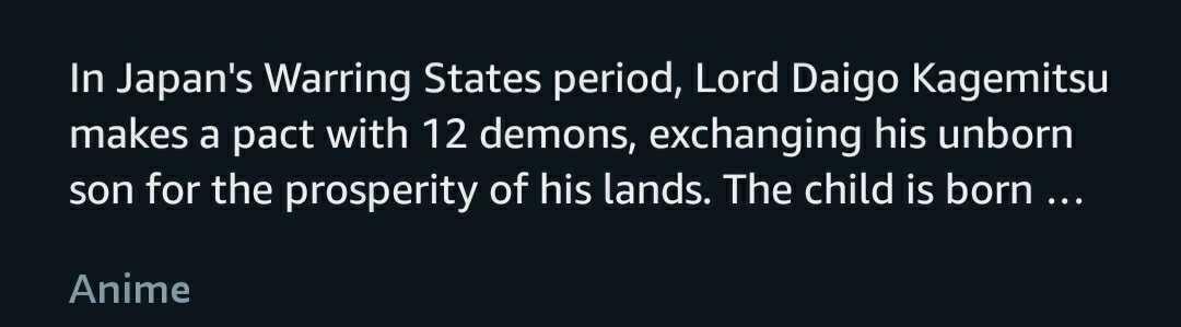 Le synopsis de Dororo est en anglais