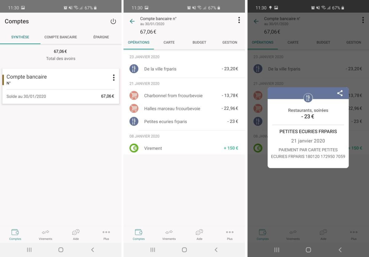 L'interface de l'application Android BforBank est très classique. Mais son design et son ergonomie ont le mérite d'être limpides.