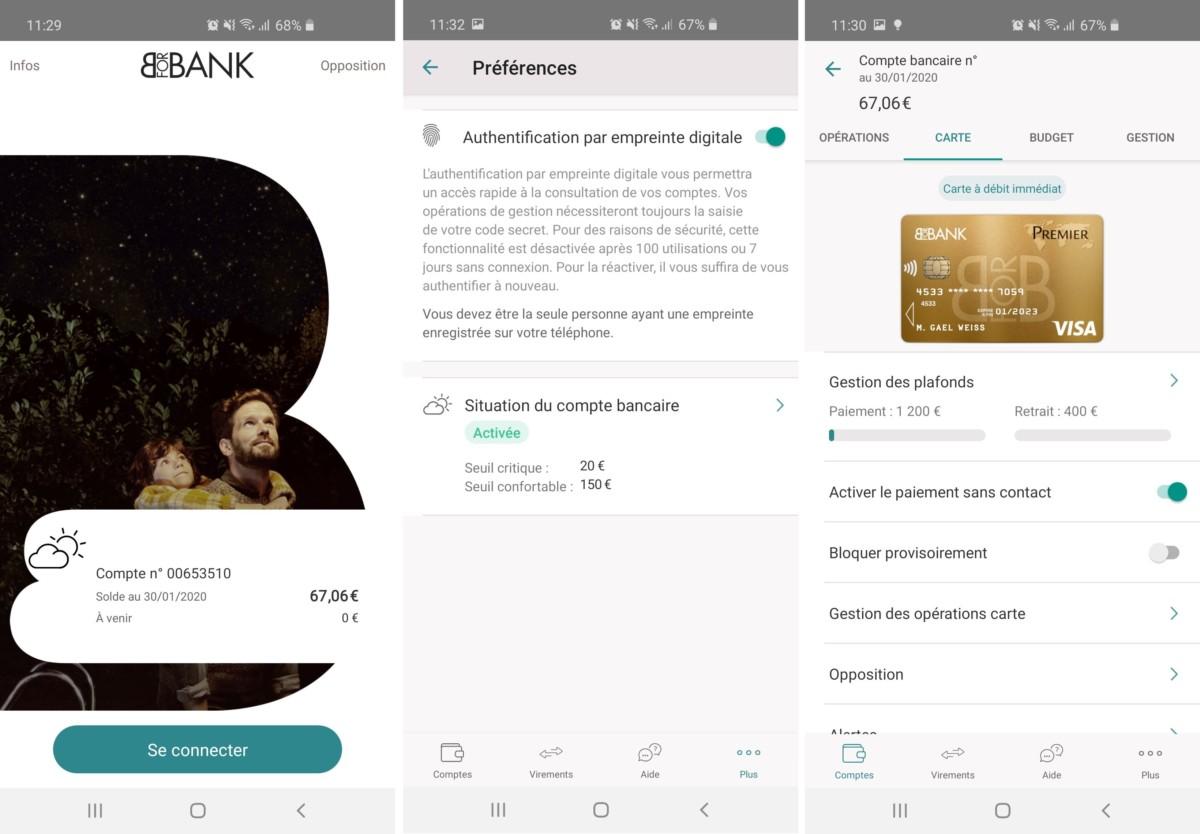 Les options de l'application mobile de BforBank sont finalement très peu nombreuses. Et il n'y a pas de paiement mobile proposé.