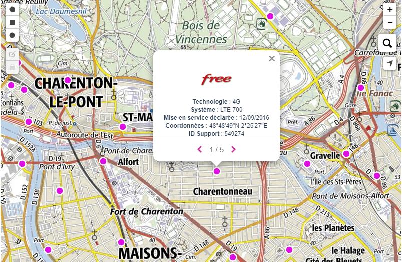 Carte interactive sur le site de l'ANFR