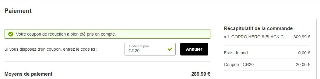 Prix final de la GoPro Hero8 Black après avoir saisi le code promo«CR20» sur Rakuten.