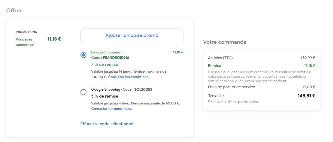 Cliquez sur «Ajouter un code promo», puis saisissez FRANDROID916 pour bénéficier de l'offre.
