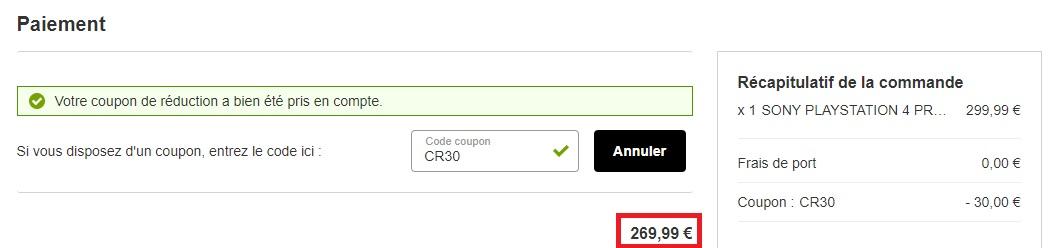 Prix final de 269€ sur Rakuten avec le code promo CR30, via le vendeur Boulanger.