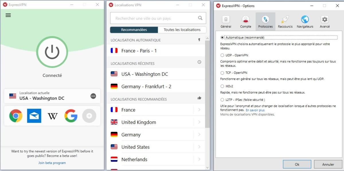 Express VPN liste de serveurs et menu des paramètres