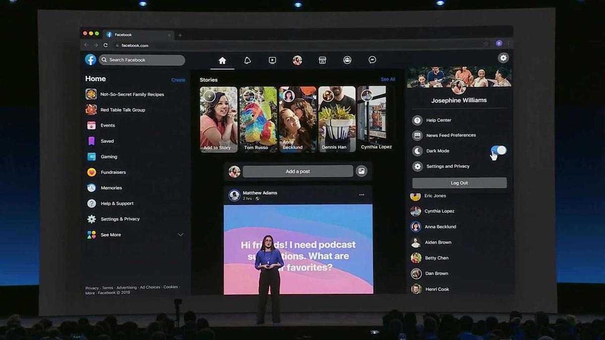 Le nouveau design avec thème sombre sera déployé au printemps — Facebook