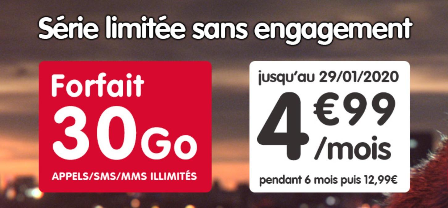 Que pensez-vous d'un forfait mobile avec 30 Go de 4G pour moins de 5 euros par mois?