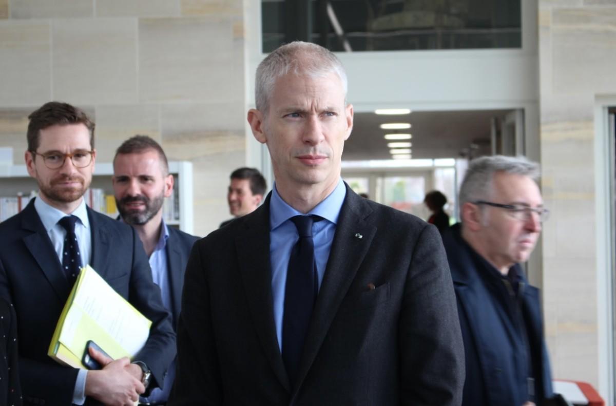 Franck Riester, ministre de la Culture, lors d'un déplacement à Bayeux en mars 2019 / Crédit : Wikimedia