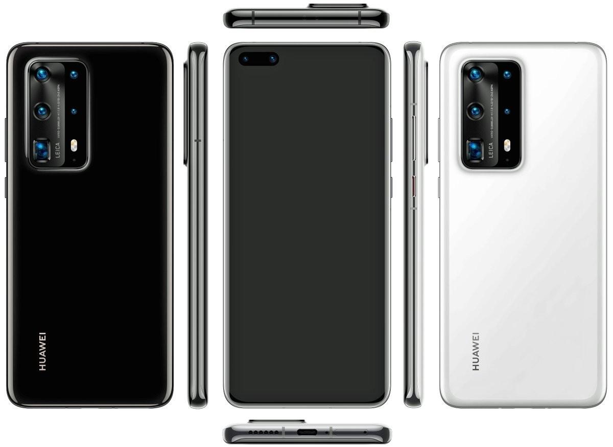 Rendu 3D du Huawei P40 par @evleaks
