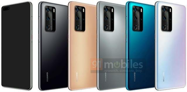 Les cinq coloris des Huawei P40 et P40 Pro dévoilés par 91mobiles