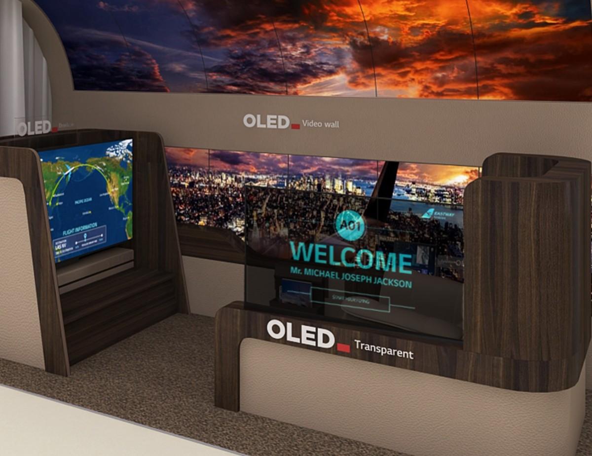 Exemple de cabine d'avion remplie d'écrans OLED