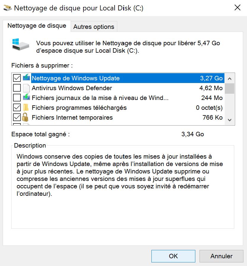 En sélectionnant Nettoyer les fichiers système, il est possible de gagner encore plus de place