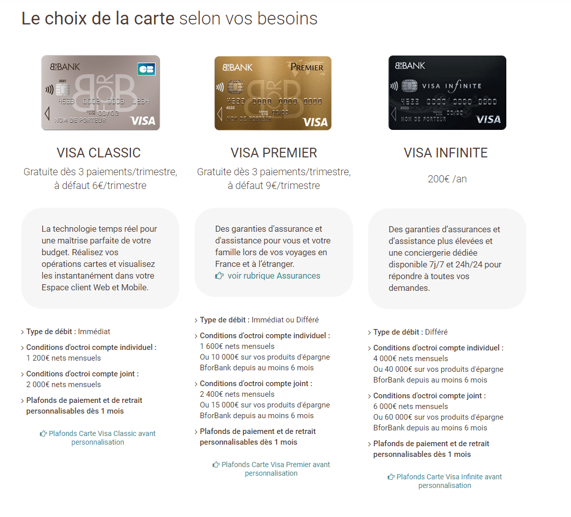 L'offre de BforBank est simple et claire. Mais il est nécessaire d'avoir un revenu minimum pour l'offre de base.