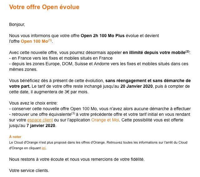 Mail d'Orange à ses abonnés (source : Univers freebox)