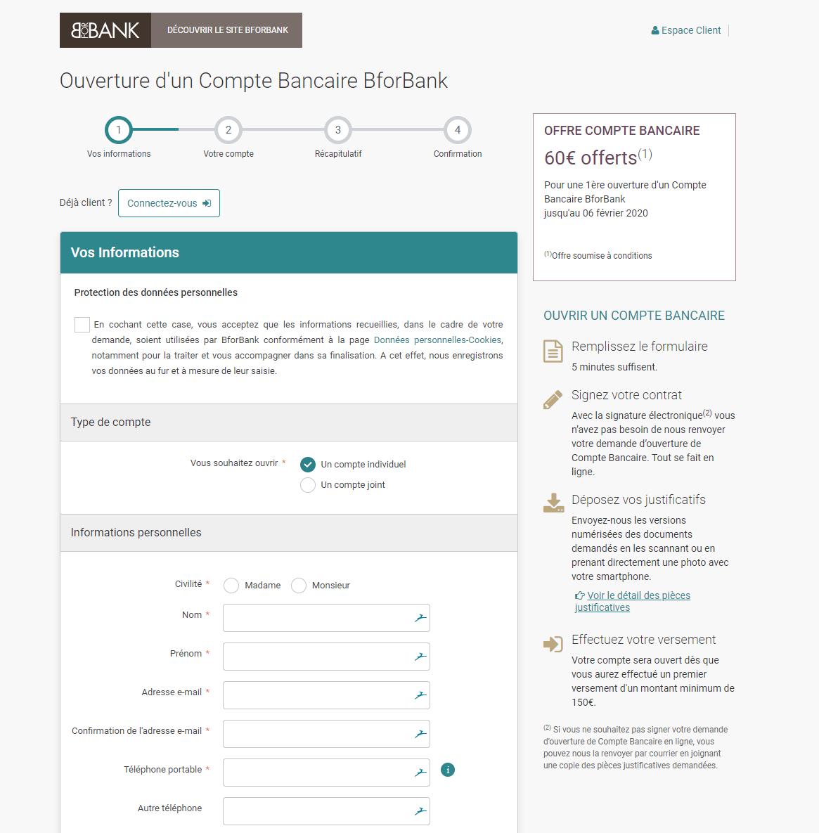 L'ouverture du compte en banque se fait uniquement sur le site web. L'application mobile ne le permet pas.
