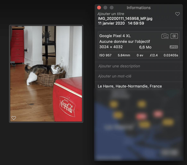 Sur Apple Photos, la localisation est même représentée sur une carte