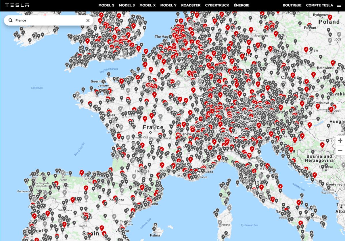 La carte sur le site de Tesla