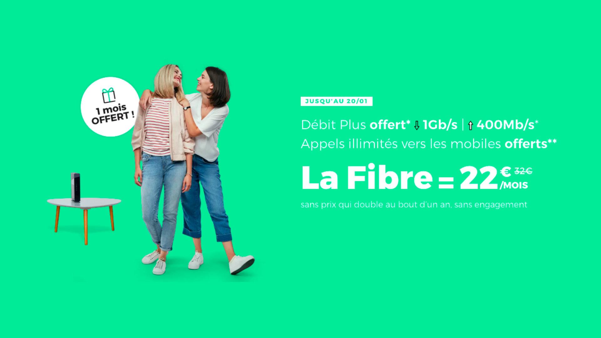 Fibre Internet : un mois d'abonnement à 22 euros offert pour toute souscription