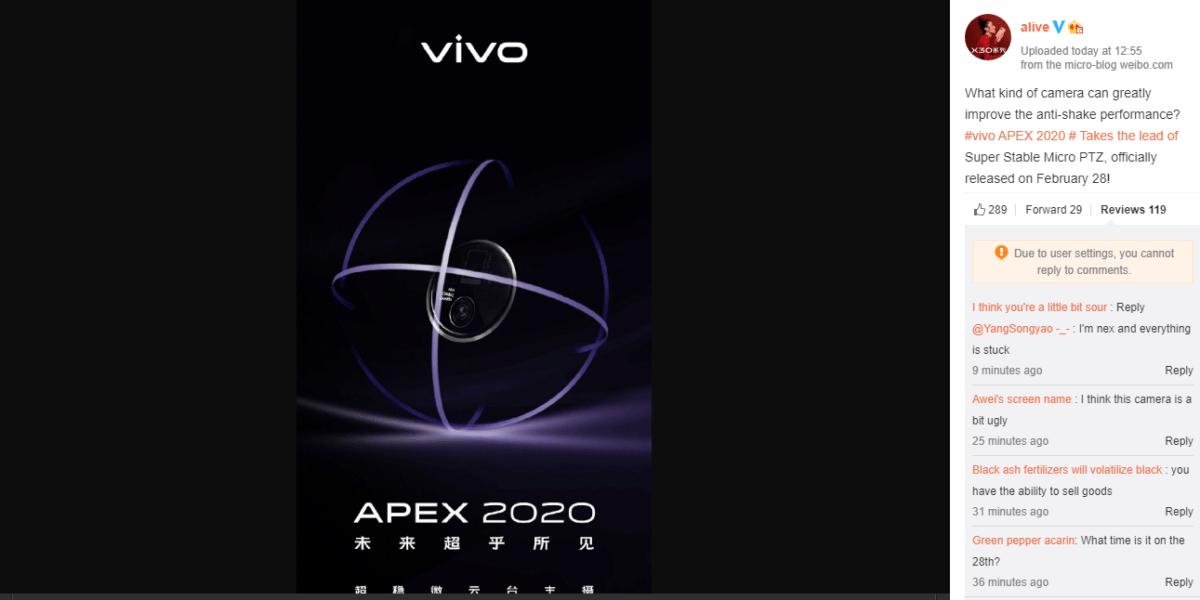 Rendez-vous le 28 février 2020 pour l'Apex 2020, indique Vivo sur Weibo (traduction du chinois vers l'anglais réalisée avec Google Traduction)