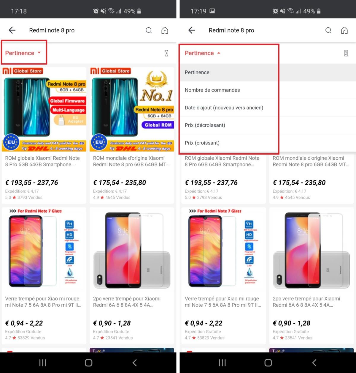 Sur mobile, l'interface d'AliExpress est plus claire. Il est aussi possible d'affiner ses recherches par nombre de commandes ou par note avec l'onglet qui se trouve en haut de la page.