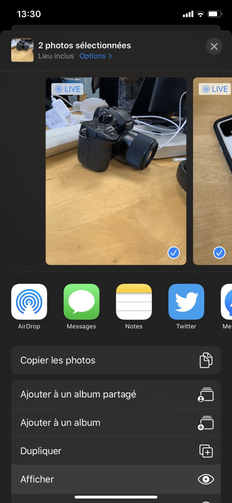 Comment cacher des photos sur iPhone