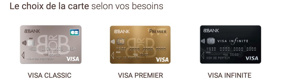 BforBank propose par exemple les trois principales gammes de carte bancaires