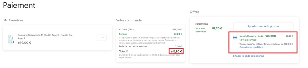 Prix final du Samsung Galaxy Note 10 via Acheter sur Google.