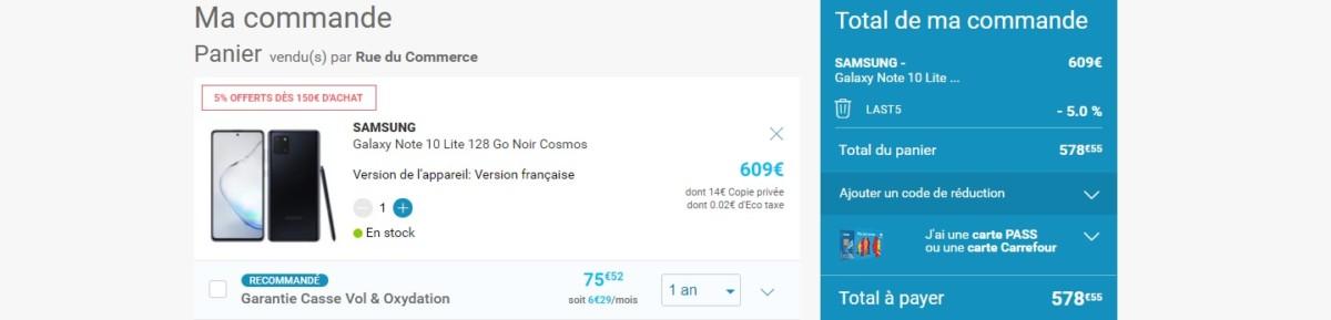 Prix final du Galaxy Note 10 Lite après avoir saisi le code promo sur Rue du Commerce.
