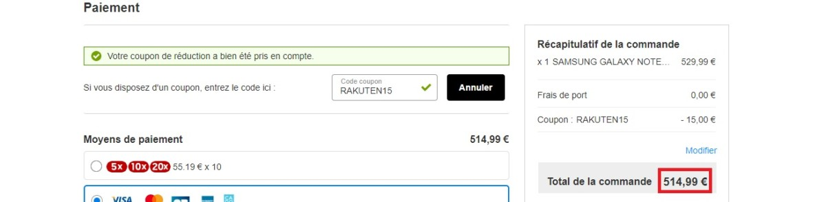 Prix final du Samsung Galaxy Note 10 Lite grâce au code promo sur Rakuten.