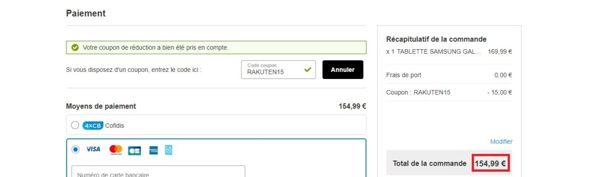 Prix final de la Samsung Galaxy Tab A après avoir saisi le code promo sur Rakuten.