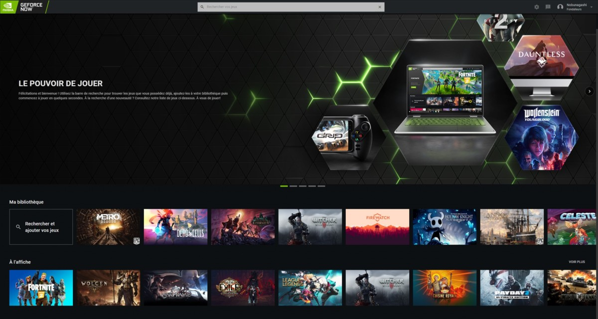 L'interface de GeForce Now sur PC