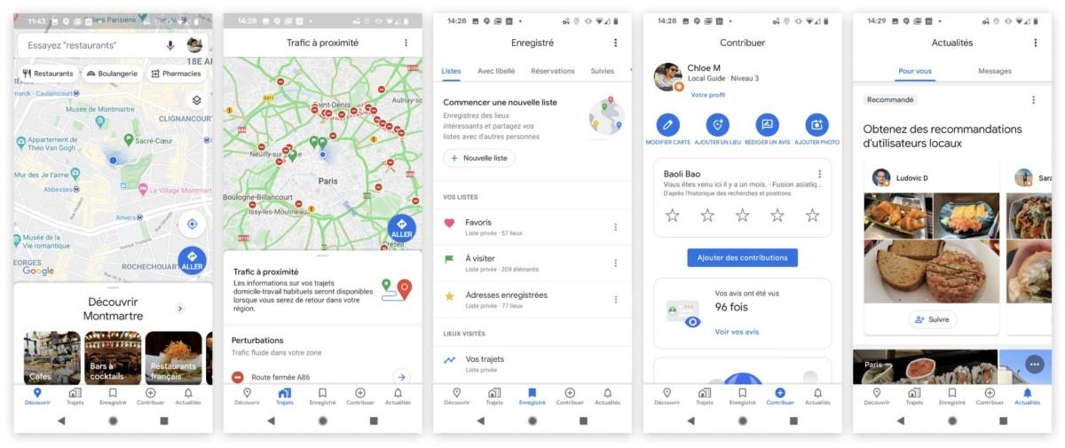 Les cinq onglets importants de la nouvelle interface de Google Maps