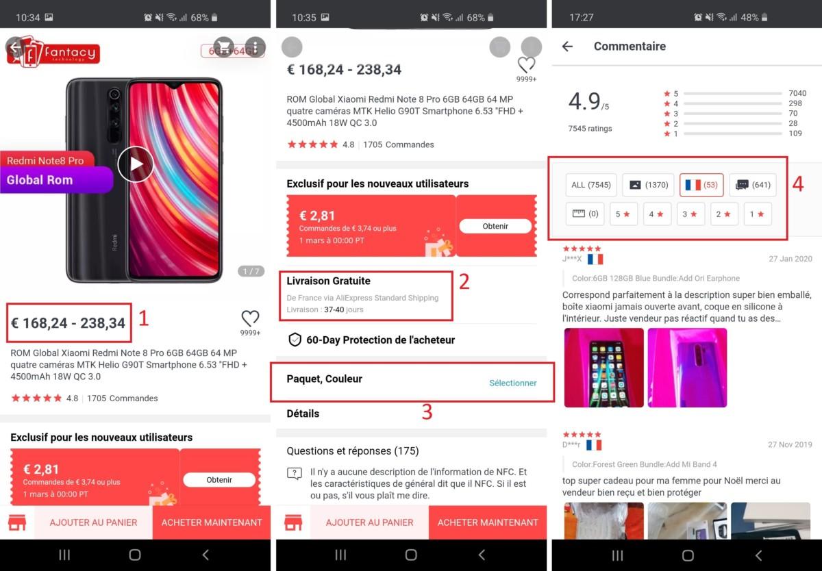 Voici les principaux éléments à repérer sur les fiches produit sur mobile:1. La fourchette de prix, qui dépend du «Paquet» et de la «Couleur».2. Le prix et le délai de la livraison3. La sélection du «Paquet» et de la «Couleur», qui vont modifier le prix final4. Les avis. Quand ils sont disponibles, en cliquant sur le drapeau français, il est possible de voir les avis d'acheteurs français, un bon moyen de savoir comment se passe la livraison.