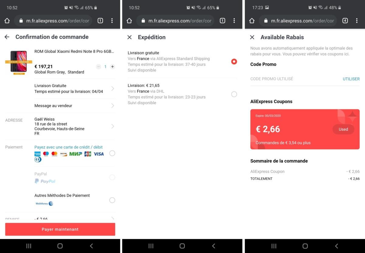 Une fois le choix du smartphone effectué, il est temps de passer la commande (à gauche). Il est possible de modifier le mode de livraison (au centre), mais aussi de faire baisser le prix grâce au système de coupons d'AliExpress (à droite).