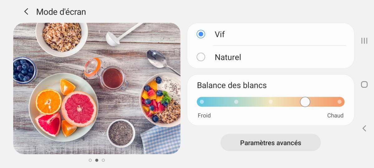 Le réglage recommandé pour l'écran du Samsung Galaxy Note 10 Lite