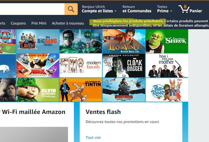 Voilà ce que l'on peut lire sur la page d'accueil d'Amazon