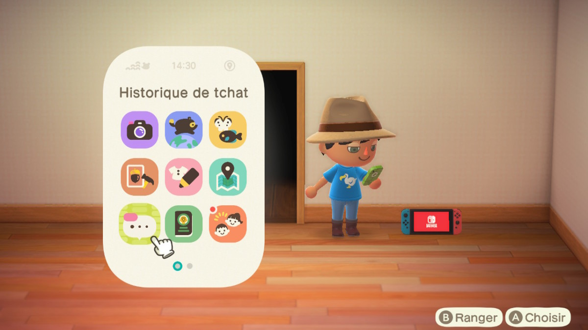 Animal Crossing New Horizons : historique de tchat