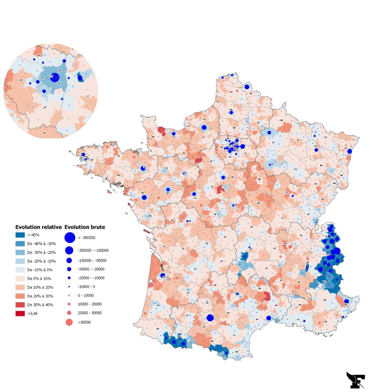 Carte par Le Figaro et données d'Orange
