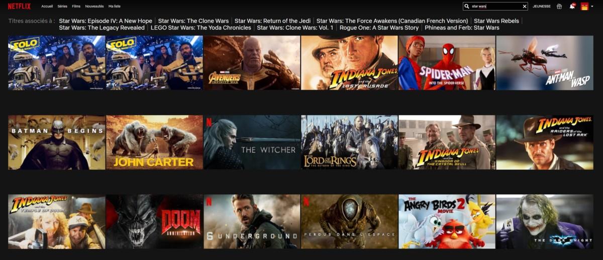Voici une partie des films auxquels il est possible d'accéder en se connectant à Netflix en passant par un serveur américain d'un VPN.