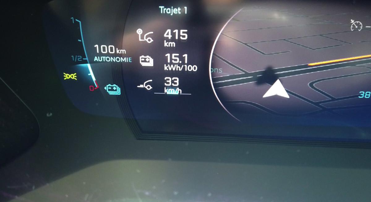 Notre consommation après 415 km sur routes mixtes et en utilisant tous les modes.