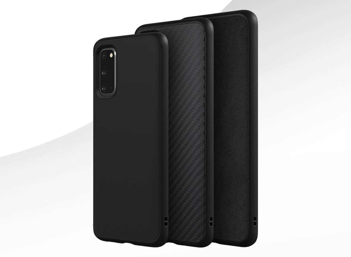 Les finitions classiques, carbone et cuir des nouvelles coques du Samsung Galaxy S20.