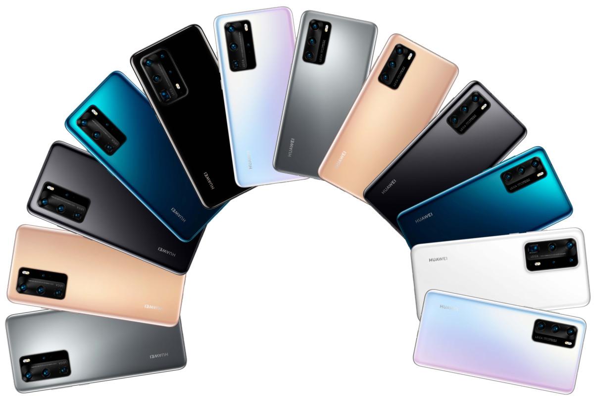 La gamme de coloris HuaweiP40. Source: Evleaks