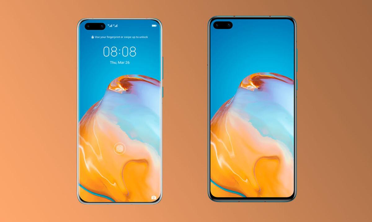 Le Huawei P40 Pro, à gauche, et le Huawei P40, à droite