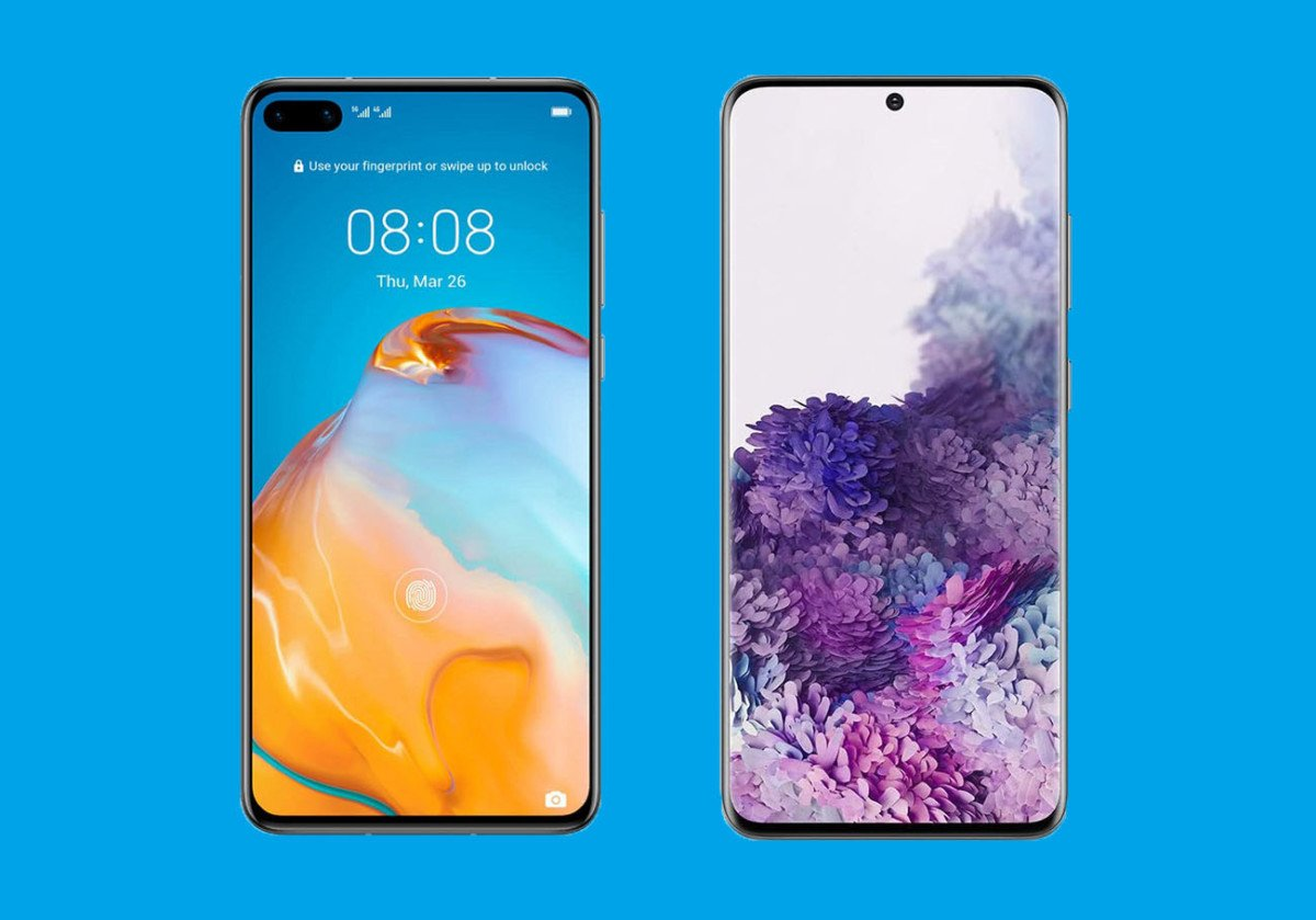 À gauche, le Huawei P40 et à droite, le Samsung Galaxy S20